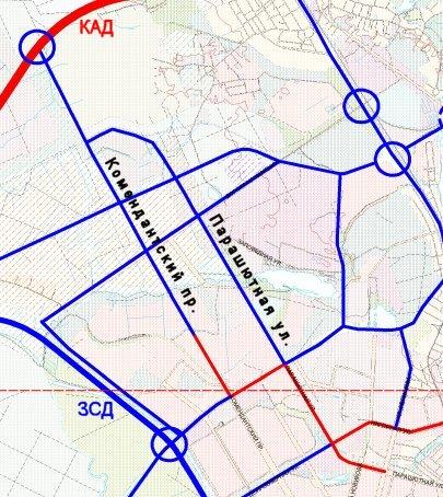 от 23.03.2009).  Фрагмент схемы из Генерального плана Санкт-Петербурга, где присутствует проект.  - Источник.