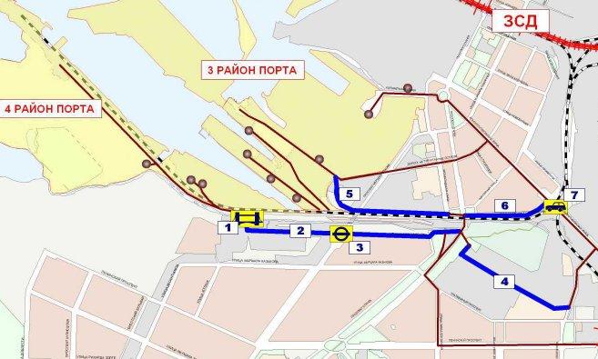 Схема подъездных путей к порту.  Южная часть.