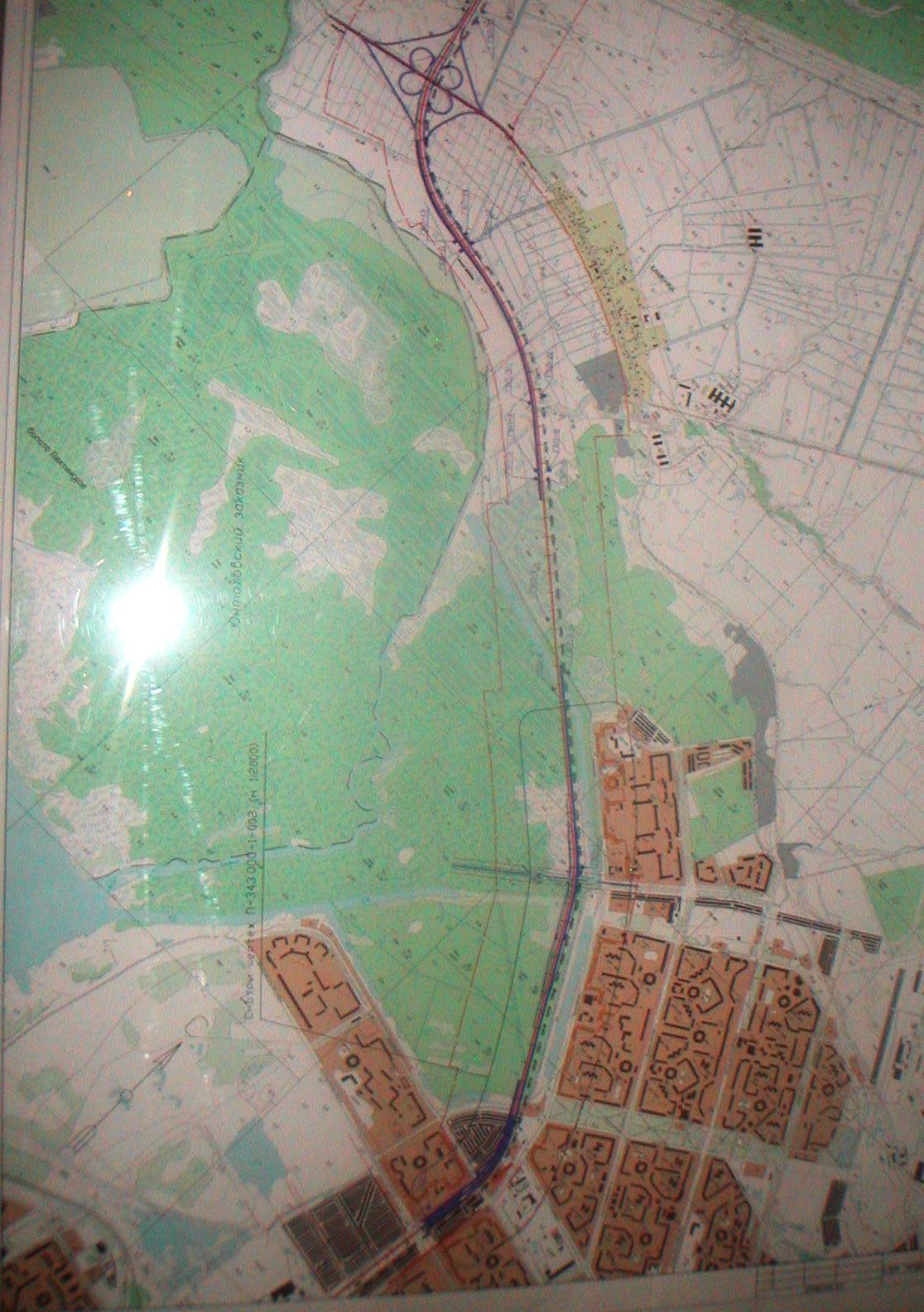 Схема участка от Богатырского пр. до дороги на Каменку.  Кликните для увеличения.
