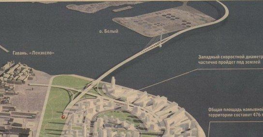 Схема развязки и моста через Большую Неву.  Кликните, чтобы увидеть полную схему.