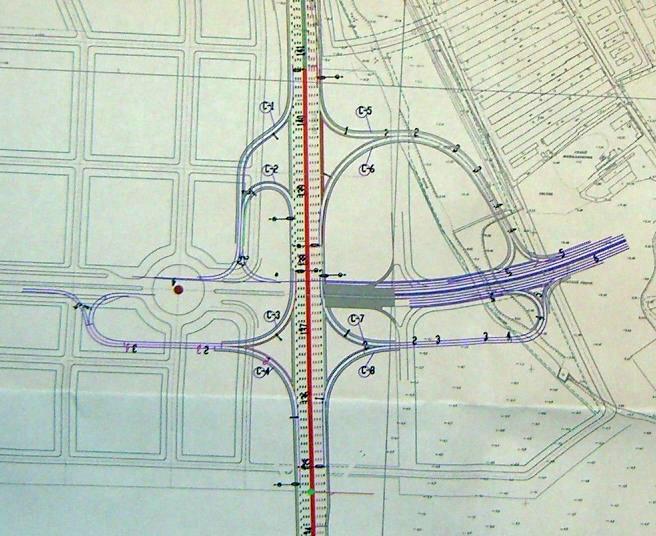 Схема проекта.  Кликните, чтобы увидеть исходную схему юго-западного участка ЗСД на Васильевском острове.