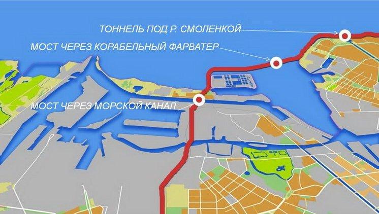 Местоположение моста на схеме юго-западного участка ЗСД.  - Источник.  Схема.